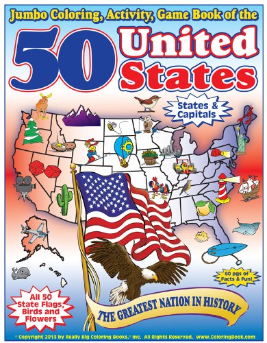 50 United States - The Greatest Nation in History Coloring, Activity & Game Book: ...