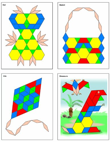 9781620574126: Thinking Kids' Math 12 Pattern Block Picture Cards