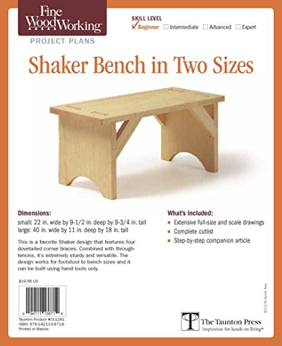 9781621138716: Fine Woodworking's Shaker Bench in Two Sizes Plan