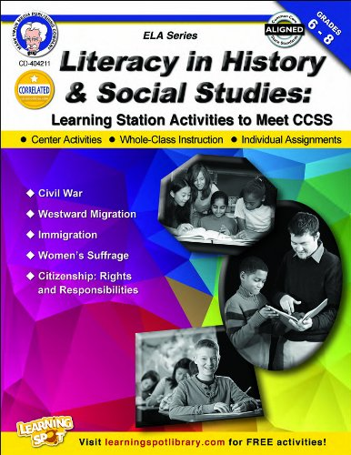 9781622234608: Literacy in History and Social Studies, Grades 6-8: Learning Station Activities to Meet CCSS (English Language Arts)