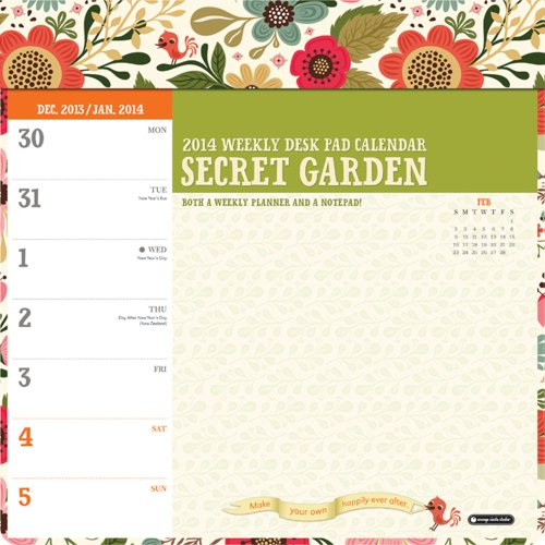 9781622260614: Secret Garden Weekly Desk Pad Calendar