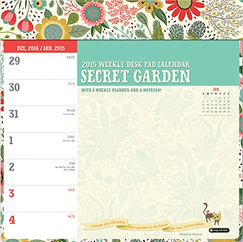 9781622264001: 2015-Secret Garden Weekly Desk Pad