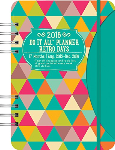 9781622267095: Retro Days Do It All 17 Months Planner 2016