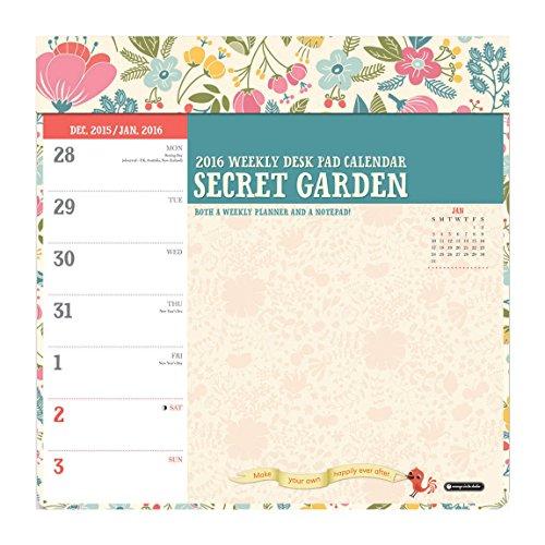 9781622267385: Orange Circle Studio 2016 Weekly Desk Calendar Pad, Secret Garden