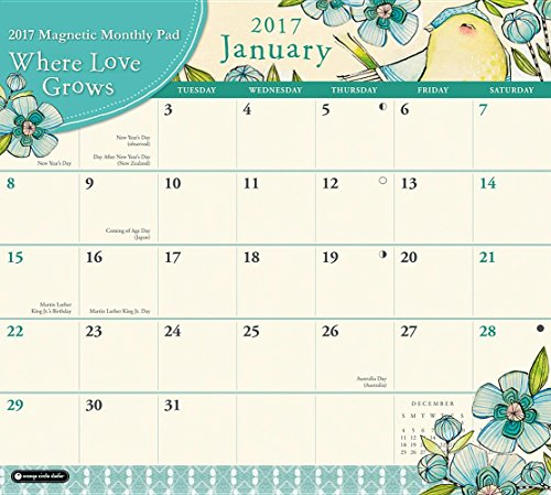 9781622269181: Orange Circle Studio 2017 Magnetic Monthly Calendar Pad, Where Love Grows (Magnetic Monthly Pad)