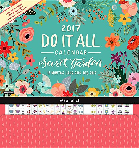 9781622269259: Orange Circle Studio 17-Month 2017 Do It All Magnetic Wall Calendar, Secret Garden (Do It All Wall)