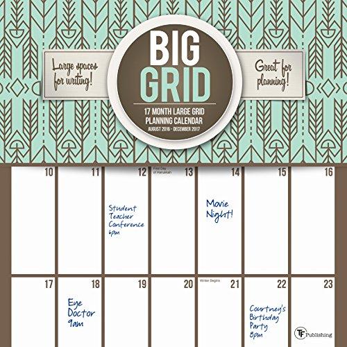 2017 Big Grid Design 17 Month Wall Calendar