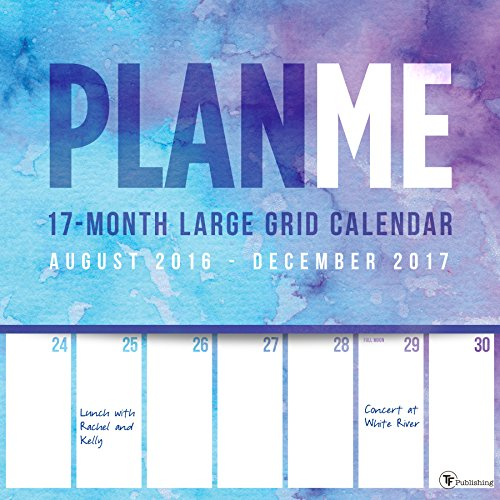 2017 PlanMe Big Grid 17 Month Wall Calendar