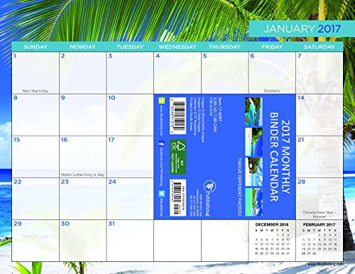 9781624389160: Tropical Beaches 2017 Binder Calendar