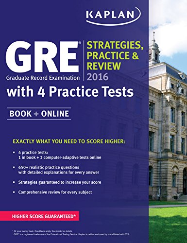 9781625231345: GRE 2016 Strategies, Practice, and Review with 4 Practice Tests: Book + Online (Kaplan Test Prep)