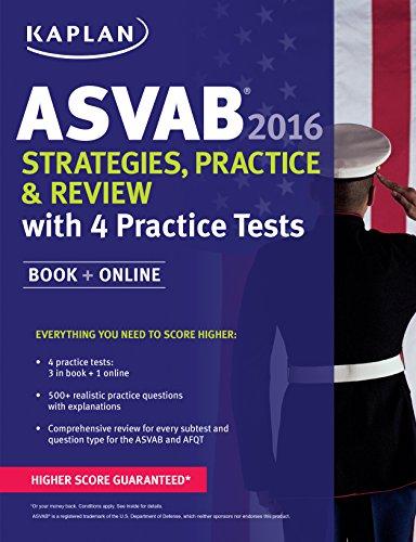 9781625231390: Kaplan ASVAB 2016 Strategies, Practice, and Review with 4 Practice Tests: Book + Online (Kaplan Test Prep)