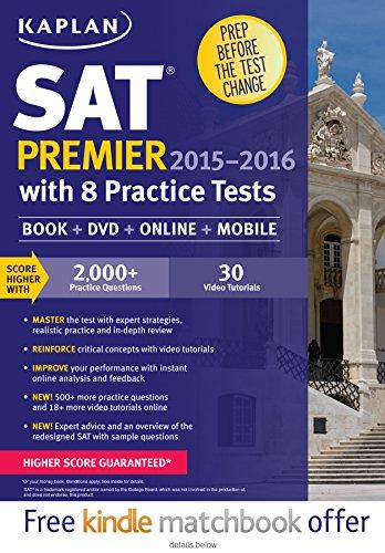 9781625231598: Kaplan SAT Premier 2015-2016 with 8 Practice Tests: Book + Online + DVD + Mobile (Kaplan Test Prep)