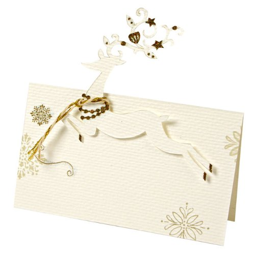 9781625681256: Pack of 10 Gold & Cream Christmas Placecard Holders