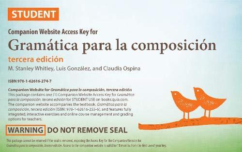 9781626162747: Gramática Para La Composición: Companion Website Access Key (English and Spanish Edition)