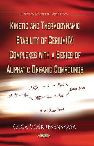9781626188921: Kinetic and Thermodynamic Stability of Cerium IV Complexes With a Series of Aliphatic Organic Compounds (Chemistry Research and Applications)