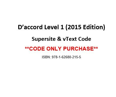 9781626802155: D'accord 1, 2015 Ed, Supersite and vText Code - CODE ONLY