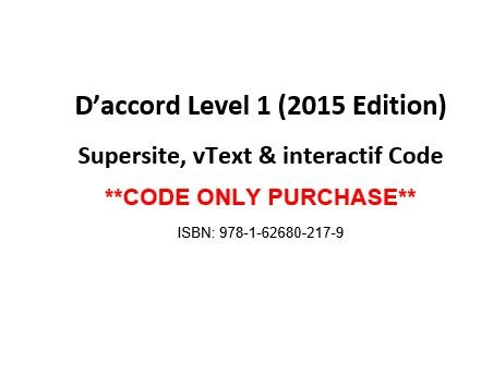 9781626802179: D'accord 1, 2015 Ed, Supersite, vText & eCahier Code - CODE ONLY
