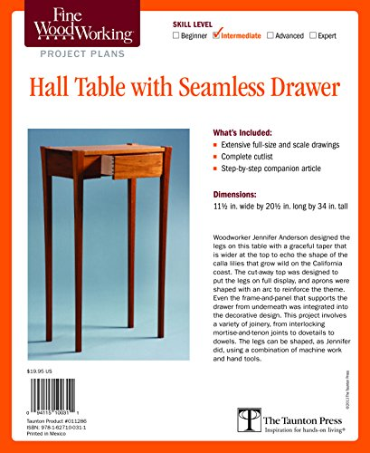 9781627100311: Fine Woodworking's Hall Table with Seamless Drawer Plan