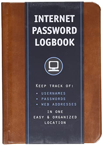 9781631061943: Internet Password Logbook (Cognac Leatherette): Keep track of: usernames, passwords, web addresses in one easy & organized location
