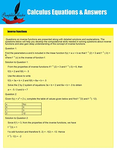 9781634281867: Calculus Equations & Answers