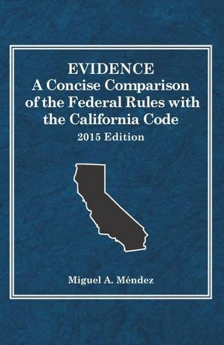 9781634594684: Evidence, A Concise Comparison of the Federal Rules with the California Code, 2015 (Selected Statutes)