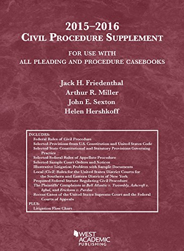 9781634596176: Civil Procedure Supplement, For Use with All Pleading and Procedure Casebooks, 2015-2016 (American Casebook Series)