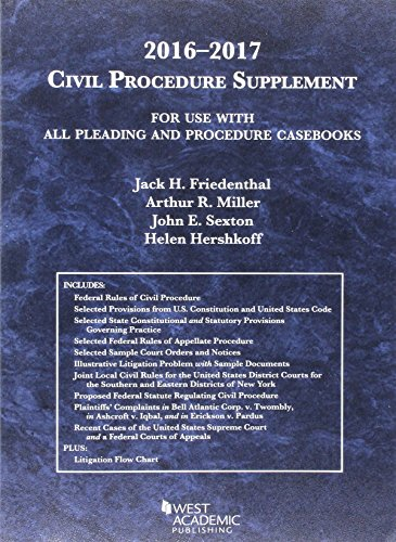 9781634607582: Civil Procedure Supplement, For Use with All Pleading and Procedure Casebooks (American Casebook Series) - 2016-2017 edition