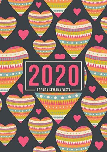 9781645209362: Agenda semana vista 2020: Del 1 de enero de 2020 al 31 de diciembre de 2020: Diario, organizador y planificador con vista semanal y mensual español: Corazones con patrón 936-2