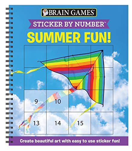 9781645581673: Brain Games - Sticker by Number: Summer Fun! (Square Stickers): Create Beautiful Art with Easy to Use Sticker Fun!