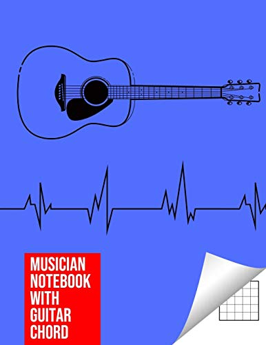 9781676924289: Musician Notebook with Guitar Chord - Guitar/Bass Fretboard Paper Cool Bassist Gift For A Bass Player Notebook guitar chords in blue color Cover