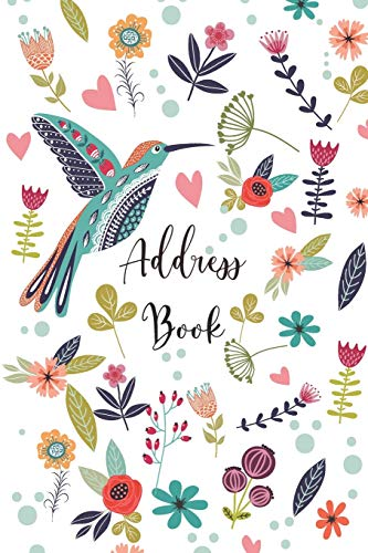 9781679564093: Address Book: Telephone and Address Book with Tabs for Contacts, Addresses, Phone Numbers, Email, Birthday, Alphabetical Organizer Journal Notebook, Flower and Bird Design