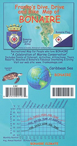 9781690901143: Bonaire (Netherlands Antilles) 1:85 000 Dive, Drive & Bike Map, waterproof FRANKO