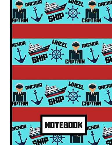 Notebook: Captain's Ship Sailing Red Blue Pattern: Press, Blue Havana