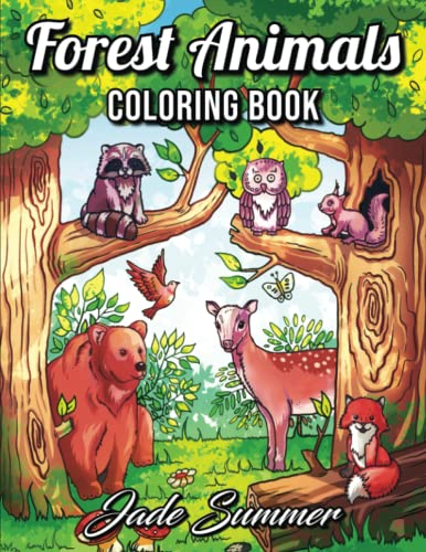 9781702355803: Forest Animals: An Adult Coloring Book with Adorable Woodland Creatures, Delightful Fantasy Elements, and Peaceful Nature Scenes