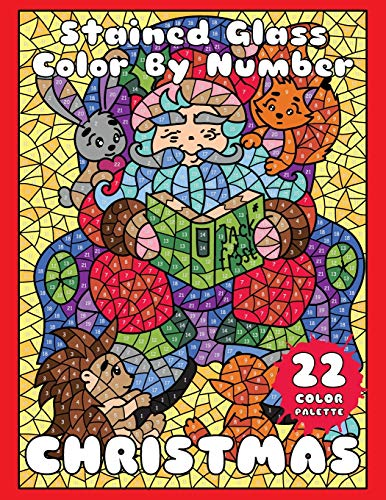 9781703071900: CHRISTMAS (Stained Glass Color by Number): Mosaic Color By Number Book for Adults Relaxation and Stress Relief