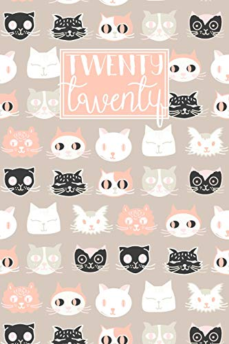 9781706726906: 2020: A5 Diary Week on 2 Pages to View WO2P Lined Journal   Horizontal Weekly Planner   Tan Pink & Black Cats Pattern (2020 Weekly Diaries)