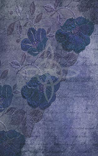 9781724071378: Grimoire Wicca Book of Shadows Journal - Castings and Rituals: Aged Blue Cover with a Witches Knot, Lace Patterned Flowers, Leaves and Ephemera. Back has an Aberration of a Fairy and Crescent Moon.