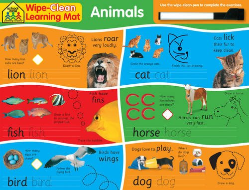 9781743521250: School Zone Wipe Clean Learning Mats: Animals