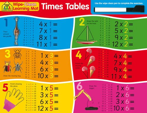 9781743521274: School Zone Wipe Clean Learning Mats: Times Tables