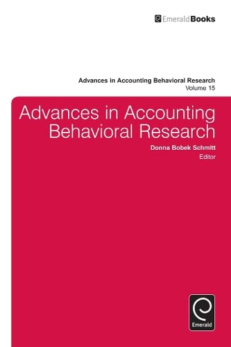 9781780527581: Advances in Accounting Behavioral Research, Volume 15