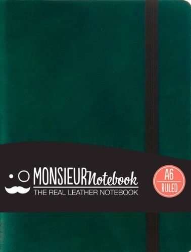 Monsieur Notebook Green Leather Ruled Small: Hide Stationery Ltd