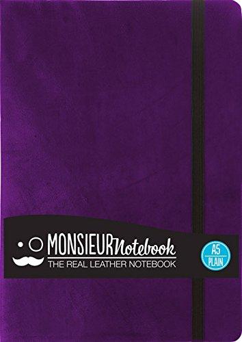 Monsieur Notebook Purple Leather Plain Medium: Hide Stationery Ltd