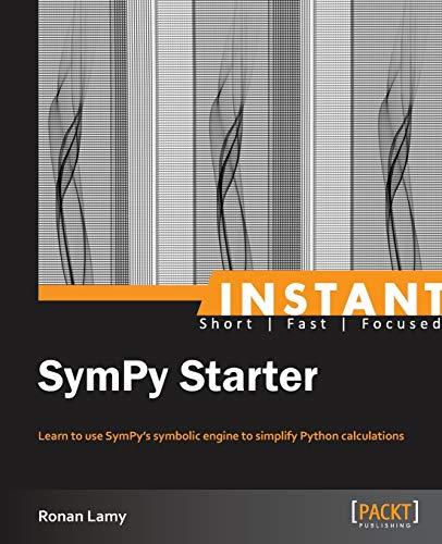 9781782163626: Instant SymPy Starter