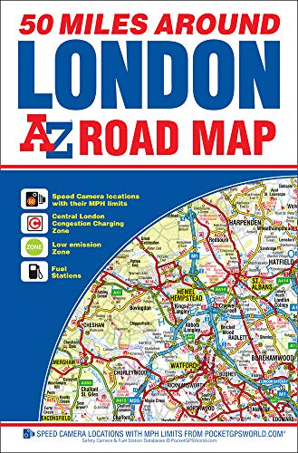 50 Miles Around London Road Map: Geographers A-Z