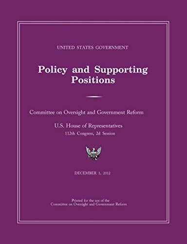 9781782662709: United States Government Policy and Supporting Positions 2012 (Plum Book)