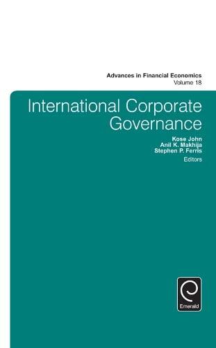 9781785603549: International Corporate Governance (Advances in Financial Economics)