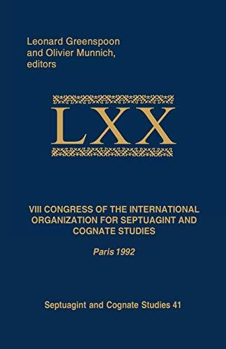 9781788502092: VIII Congress of the International Organization for Septuagint and Cognate Studies: Paris 1992