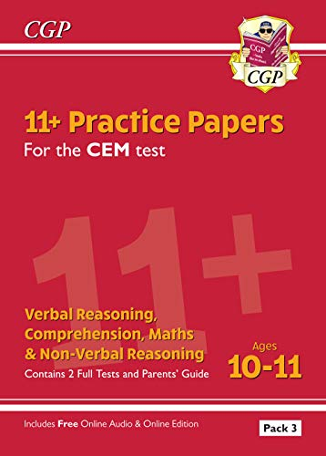 9781789082180: 11+ CEM Practice Papers: Ages 10-11 - Pack 3 (with Parents' Guide & Online Edition) (CGP 11+ CEM)