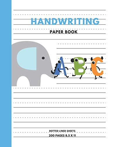 """9781797944586: Handwriting Paper Book: Practice Paper Notebook Writing Letters & Words with Dashed Center Line, Handwriting Hooked Learn, Handwriting Workbooks For Kids, 8.5"""" x 11"""" 200 Pages"""