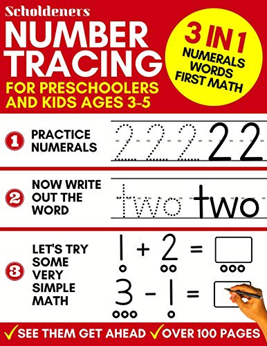 9781797967882: Number Tracing for Preschoolers and Kids Ages 3-5: 3-In-1 Book to Master Numerals, Words and First Math (Trace Numbers Practice Workbook for Pre K, K)